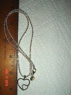 Vtg 925 Sterling Silver Black White Diamond Joined Hearts Pendant Fancy Necklace