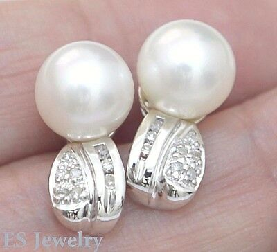 Genuine 14K Solid White Gold Natural Diamond White Cultured Pearl Stud Earrings