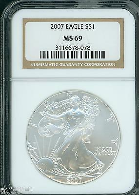 2007 American Silver Eagle ASE S$1 NGC MS69 MS-69 PQ+ BEAUTIFUL