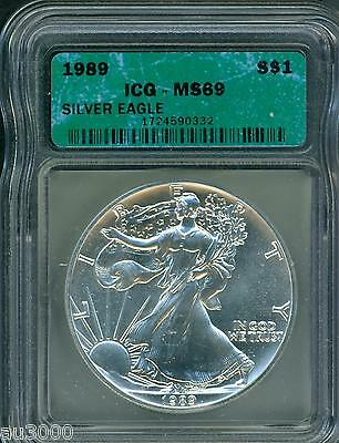 1989 American Silver Eagle ASE S$1 ICG MS69 MS-69 BEAUTIFUL Premium Quality PQ++