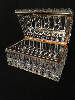 Exquisite Antique Rare French Baccarat Style Crystal & Brass Jewelry Trinket Box