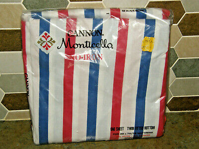NOS Sealed Vintage Cannon Monticello Red White Blue Stripe TWIN Fitted Sheet