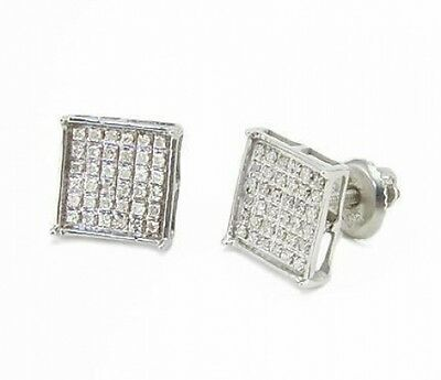 995b2387d 10K White Gold Micro Pave Diamond Earrings .25ct Square Frame Unisex Studs