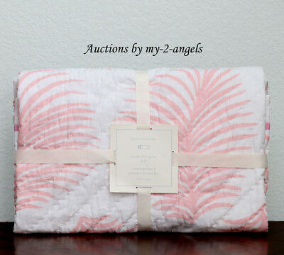 Pottery Barn Kids NANTUCKET PALM Crib Toddler Baby Nursery Quilt PINK *Nautical