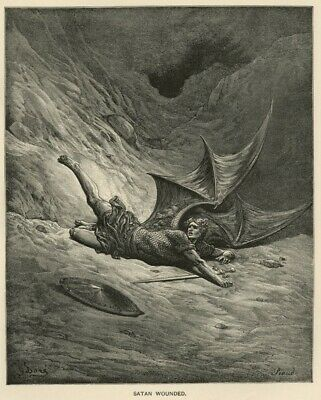"""Satan Wounded from Milton's """"Paradise Lost"""" True 1892 Gustave Dore Litho Book IL"""