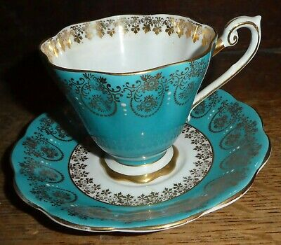 Royal Standard footed Fluted teacup saucer Turquoise Blue Gold Filigree 2007 PO1