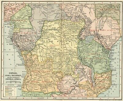 Congo, Angola, Mozambique / Central Africa Map: Authentic 1902 (Dated) Cities, +