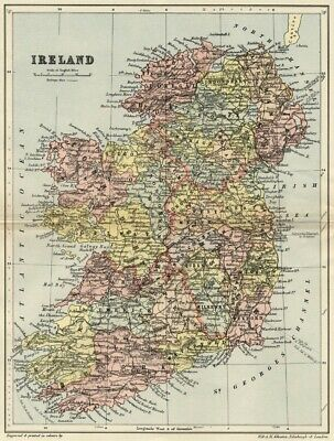 Show Map Of Ireland.Ireland Map Authentic 1895 Shows Counties Towns Topography Rrs