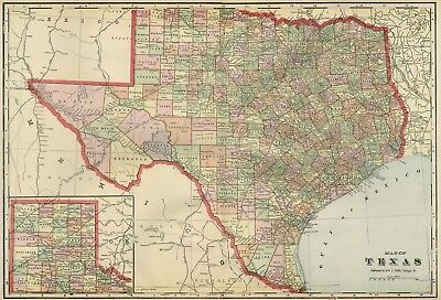 Texas Map Of Cities Towns And Counties.Texas Map Authentic 1899 Counties Cities Towns Railroads Topography