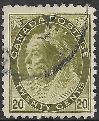 CANADA 20c olive-green, used. SG 165. Cat.£50.