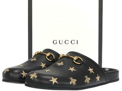 the best vast selection good looking NEW GUCCI LUXURY Black Leather Gold Stars Bees Slippers ...
