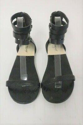 3985a3446bd0c4 MARSELL BLACK LEATHER Sandals Flats Buckle Women s 10 Open Toe EU 40 ...