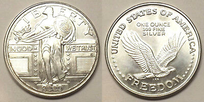 1oz .999 SILVER ROUND - 2009 FEATURING THE (STANDING LIBERTY QUARTER DESIGN)