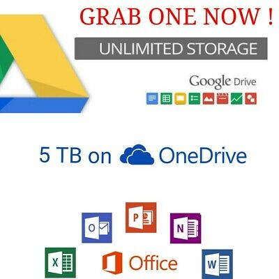 Lot Of 2 Pc Unlimited Google Drive+ One D 5Tb+ 365 No More Limit Best Brice