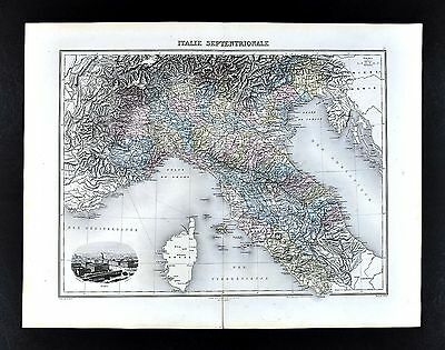 1880 Migeon Map - North Italy  Rome Florence Venice Milan Revenna Turin Vignette