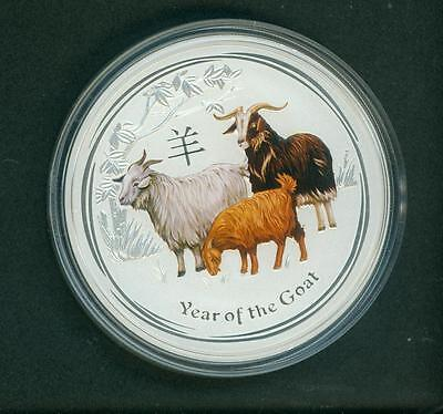 2015 AUSTRALIA $8 8 DOLLARS LUNAR GOAT 5 Oz. COLORIZED SILVER BULLION PERTH MINT