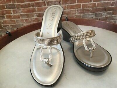 6cb292be4a7f0 Italian Shoemakers Platinum Jeweled Italy Made Thong Cyrus Wedge Sandal 9  NEW