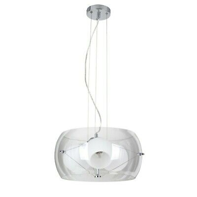 "Paris Prix - Lampe Suspension 3 Têtes ""lola"" 42cm Blanc"