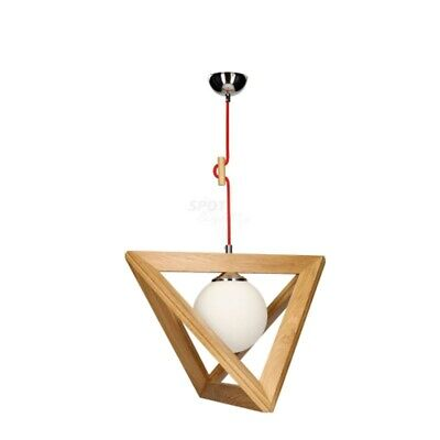 "Paris Prix - Lampe Suspension Globe ""trigonon Iv"" 100cm Chêne & Rouge"