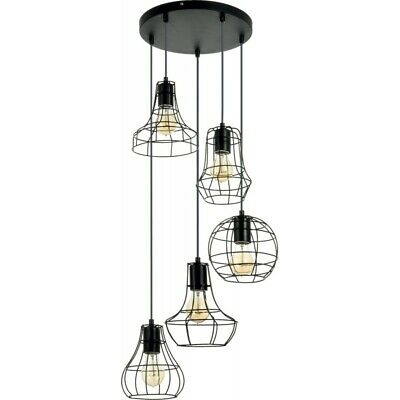"Paris Prix - Lampe Suspension 5 Têtes ""outline"" 46cm Noir"