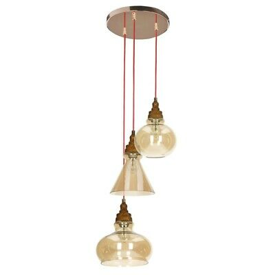 "Paris Prix - Lampe Suspension 3 Têtes ""serena"" 40cm Brun"