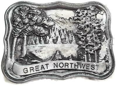 Vintage Great Northwest Belt Buckle - Indiana Metal Craft - 3-1/8 Inch