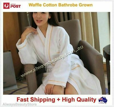 Unisex Waffle Weave Cotton Bath Robe Bathrobe Spa Deluxe Gown 380GSM Oz Sale