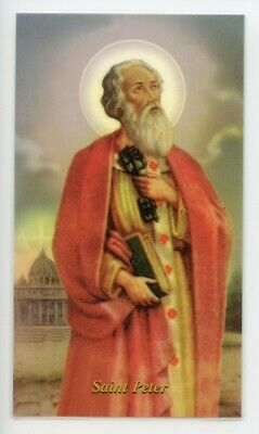 St. Peter - Prayer - Relic Laminated Holy Card - Blessed by Pope Francis