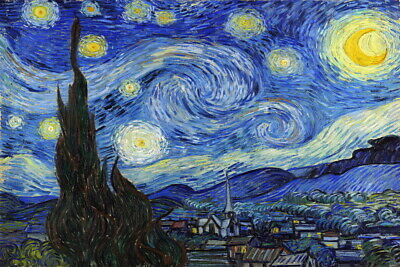 Wall Art decor Print The Starry Night Oil painting Giclee Printed on Canvas P403