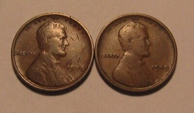 1909 VDB & 1909 Lincoln Cent Penny - Mixed Condition - 1FR