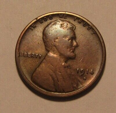 1914 S Lincoln Cent Penny - Fine Condition - 8FR