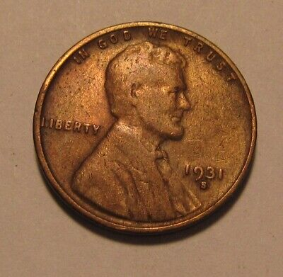 1931 S Lincoln Cent Penny - Fine to Very Fine Condition / Cleaned - 16FR