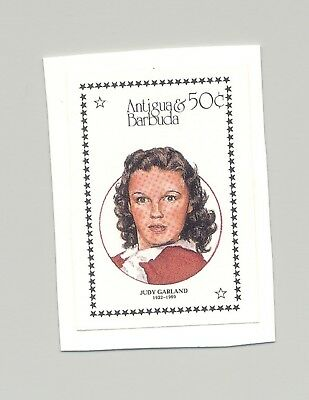 Antigua #1043 Judy Garland, Cinema 1v Imperf Proof on Card