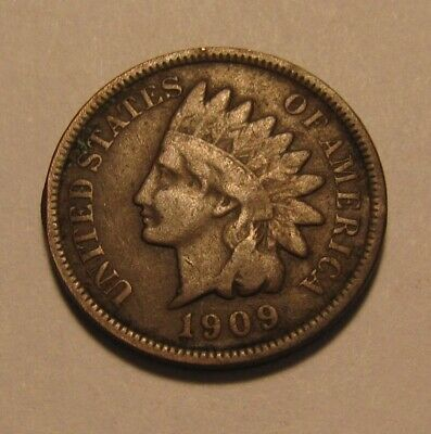1909 Indian Head Cent Penny - Fine to Very Fine Condition - 62FR