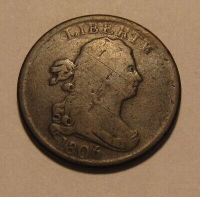 1806 Draped Bust Half Cent Penny - NICE Circulated Condition - 64FR
