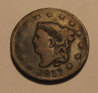 1817 Coronet Head Large Cent Penny - NICE Circulated Condition - 65FR