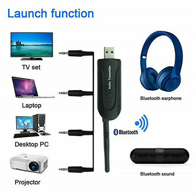 For TV DVD PC Wireless Bluetooth Transmitter A2DP 3.5mm Audio Music Adapter AU