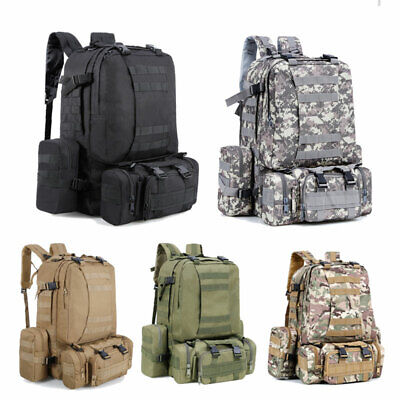 65L 3IN1 Outdoor Tactical Military Rucksacks Backpack Travel Camping Bag Combo