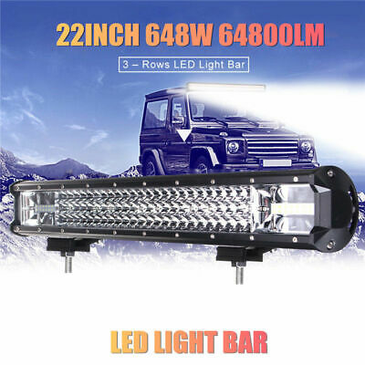 22 Inch 648W LED Work Light Bar Flood Spot Combo Driving Lamp Car Truck Offroad
