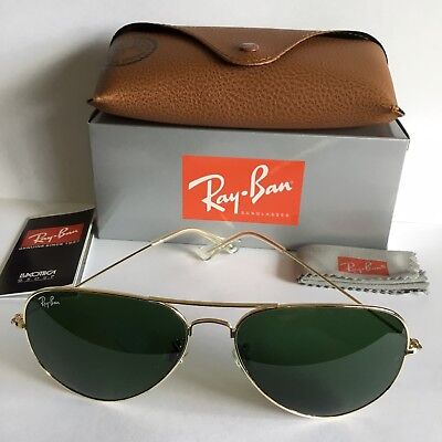 45c81880e6 RAY-BAN AVIATOR LARGE RB3026 62mm Green Lens Gold Frame Sunglasses ...
