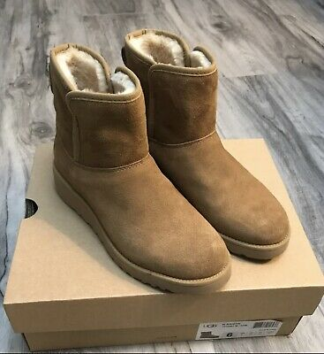 58b87aa58eb8 UGG Australia Kristin Suede Sheepskin Boots 6 MED 1012497 Chestnut Boot  Wedge