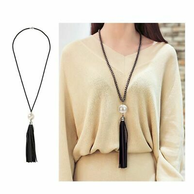 Gift Long Chain Pendant Leather Beads Tassel Sweater Necklace Pearl