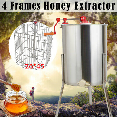 4 Frame Stainless Steel Honey Extractor Centrifuge + Cover Beekeeper Supply Tool