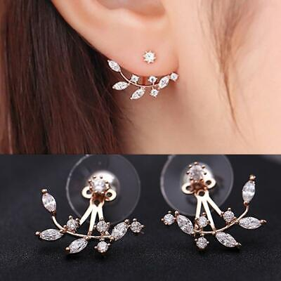 Ear Cuff Women Double Sided Ear Stud Gold Plated Leaf Crystal Earrings