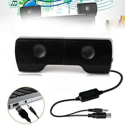 USB Clip-On Computer Sound Bar Stereo Laptop Desktop PC Notebook Speakers MINI