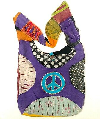 New Purse Large Handbag Peace Sign Crossbody Hobo Zipper Hippie Handmade Nepal