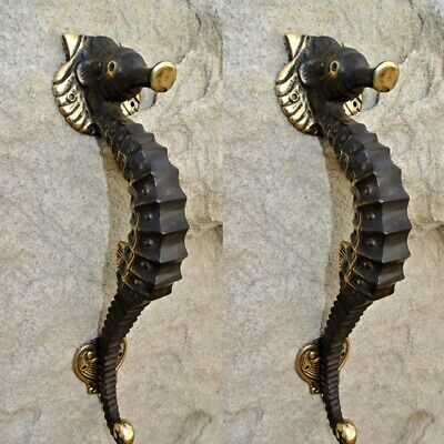 "2 small SEAHORSE solid brass door AGED old style house PULL handle 10"" pair B"