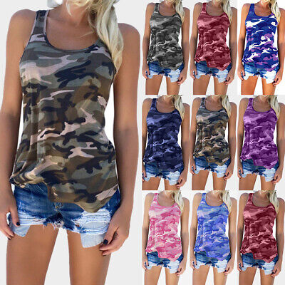 UK Womens Sleeveless Camouflage Vest Top Ladies Casual Loose Tee Shirt Plus Size