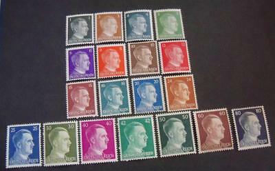 German 1941 - 44 WW2 Third Reich Hitler head stamps -MH- 19 stamps