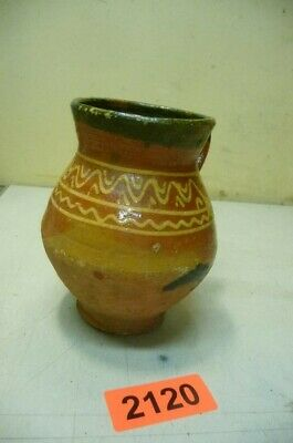 2120. Alter Tontopf Fayence Krug Topf Old Clay Pot Fayencé